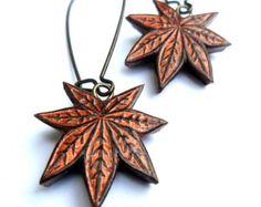 Japanese Maple Leaf Dangle Earrings, Metallic Copper Drop Earrings, Fall Leaf Earrings,