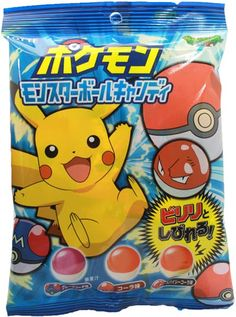 Candy that look just like Pokeballs! Three flavors are included, Grape (Master Ball), Cola (Regular Pokeball) and a special Spicy Cola (Styled after the electric Pokemon, Voltron). The wrapper of each candy shows a silhouette of a Pokemon character for Japanese Snacks, Japanese Candy, Japanese Sweets, Japanese Food, Pokemon Snacks, Pokemon Party, Pokemon Pokemon, Japanese Packaging, Best Friend Drawings