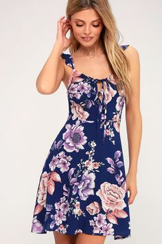 A little sweet, a little sassy, the J.O.A. Juliana Royal Blue Floral Print Skater Dress is quite a treat! Super-soft, woven fabric, in a white, purple, and peach floral print, dances over a V-neckline, with tying details, supported by ruffled straps. Free shipping and free returns!