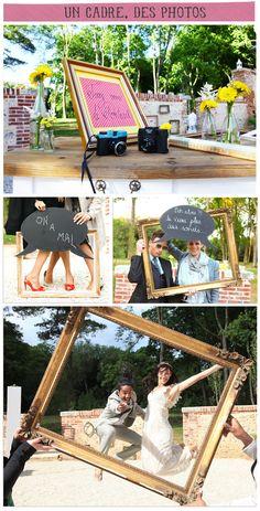 A frame, photos - New Deko Sites Cadre Photo Booth, Diy Photo Booth, Photo Booth Frame, Birthday Photo Frame, Birthday Photos, Photo Booth Anniversaire, Photo Boots, Wedding Frames, Just Married