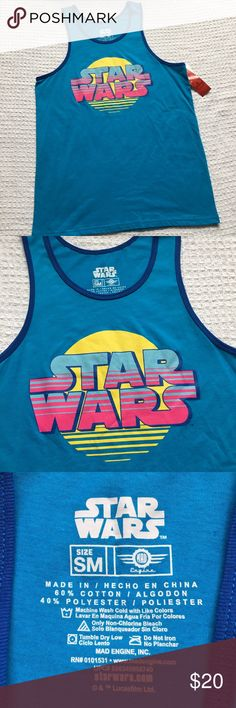 Star War Tank Men's New Enjoy intergallactic style with this men's Star Wars tank.   PRODUCT FEATURES 	•	Contrasting trim 	•	Crewneck 	•	Sleeveless  FABRIC & CARE 	•	Cotton 	•	Machine wash 	•	Imported  New with tags. Star Wars Shirts Tank Tops