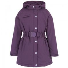 Mini-A-Ture Girls Violet Detachable Hooded Belt Ski Jacket | AlexandAlexa