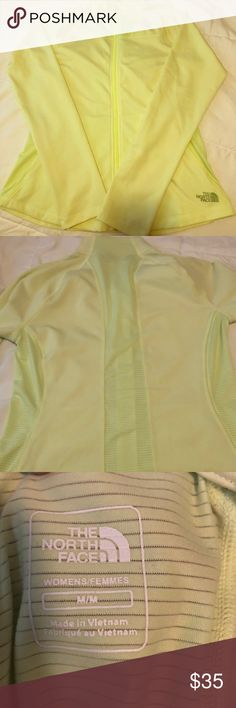 The North Face Neon Green Track Jacket Super cute full zip track jacket with mesh detailing on the sides and back. Looks stylish with leggings and some sneakers! Size medium. The North Face Jackets & Coats