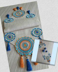 Crochet Table Mat, Crochet Table Runner Pattern, Crochet Edging Patterns, Crochet Designs, Crochet Circles, Crochet Mandala, Crochet Motif, Crochet Doilies, Crochet Fabric