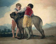 """Francisco de Goya: """"Niños con perro de presa"""". Oil on canvas, 112  x 145 cm, 1786. Museo Nacional del Prado, Madrid, Spain"""