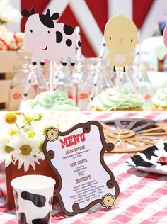 Adorable Barnyard Extravaganza Birthday Party | love the menu and the cow print cups and plates