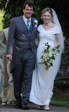 Naomi Gummer and Henry Allsopp pictured at their wedding ceremony in Chadlington, Oxfordshire: Henry Allsopp is the Duchess of Cornwall's godson, heir to the 6th Baron Hindlip.