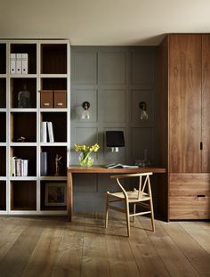 Painting Wood Paneling for a Contemporary Home Office with a Display Cabinet and Teddy Edwards Bespoke Study & Library Furniture by Teddy Edwards Home Office Design, Home Office Decor, House Design, Home Decor, Office Ideas, Workspace Design, Office Style, Library Furniture, Office Furniture