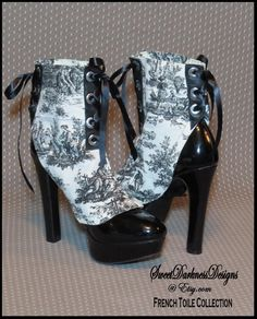 Steampunk Spats FRENCH TOILE SPATS Black Leather Spats Laceup Shoecover Vintage Victorian Spats Steampunk Clothing by SweetDarknessDesigns by SweetDarknessDesigns on Etsy