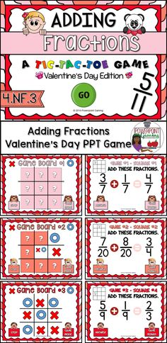 "Celebrate Valentine's Day with your 4th grade students with this fun, interactive V-day themed time game. In this tic-tac-toe powerpoint game, students play against one another as they practice adding fractions. In this twist on the classic game, students must answer the questions correctly in order to place their ""x"" or ""o""."
