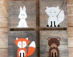 Baby Animal Paintings Woodland Paintings von AmbersWoodenBoutique