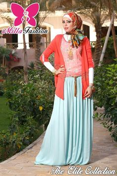 coral cardigan with blue maxi skirt  hijab fashion The Elite collection by Milla hijab store http://www.justtrendygirls.com/the-elite-collection-by-milla-hijab-store/