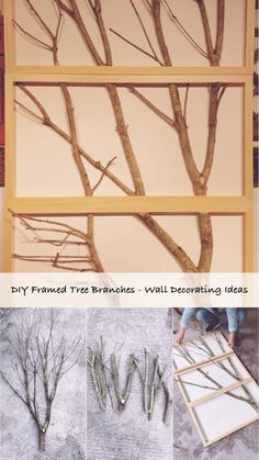 DIY Framed Tree Branches – Wall Decorating Ideas Framed tree branches project wall decoration idea o Diy Wand, Tree Branch Decor, Tree Branches, Tree Branch Crafts, Birch Tree Decor, Tree Wall Decor, Home Crafts, Diy Home Decor, Diy And Crafts