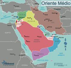 Oriente Médio: Israel e Palestina, Líbano, Síria, Iraque, Jordânia, Arábia Saudita, Iêmen, Omã, Estados Árabes Unidos (EAU),Qatar, Bahrein, Kuwait e Irã.