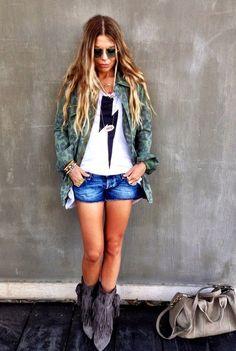 Leopard print camo jacket camoflauge camo military, rock camo lightning bolt, cheetah print, army, green, jean shorts.