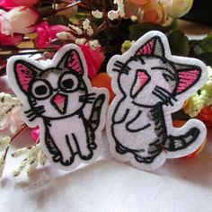 Cartoon catcute catfunny cat Laughs catGlassesembroidered patch iron on patch sew on patch 6.0cm4.3cm (A88) patches iron on patch sew on patch embroidery the patch embroidered patch badge back patch funny patch Glasses cat funny Laughs