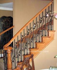 Support your local fabricator - Remodeled Staircase with decorative iron and wood Iron Staircase Railing, Stair Railing Design, Wood Railing, Metal Stairs, Staircases, Staircase Remodel, Wrought Iron Gates, Grill Design, Designer