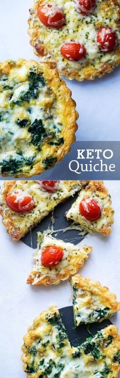 Easy Keto Quiche! Flaky crust covered with delicious toppings.