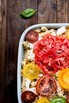 Heirloom Tomato Pasta Bake | The effortless summer pasta bake that gets dinner ready in 40 minutes. | www.wildeorchard.co.uk