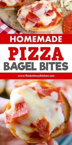 Pizza Bagels Make these homemade pizza bagel bites for the best game day snacks or for a kid-friendly dinner! They're freezer friendly and make ahead! Featuring mini bagels, pizza sauce, cheese and pepperoni! Appetizers For Kids, Appetizer Recipes, Pizza Recipes, Pizza Snacks, Party Appetizers, Casserole Recipes, Bread Recipes, Yummy Recipes, Cooking Recipes