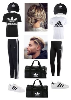"""""""couples workout outfit"""" by taylorcheatham on Polyvore featuring adidas"""