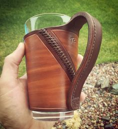 Custom leather pint glass sleeve, handcrafted in Montana. Gorgeous leather art, surefire conversation starter.