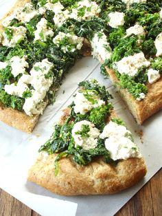 #Vegan Broccoli Rabe and Cashew Ricotta White Pizza