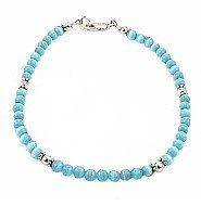 """Aqua Cat Eye & Sterling Silver Anklet - 10"""" Timeless Treasures. $28.99. Satisfaction Guaranteed. Available Lengths: 9"""" - 12"""""""