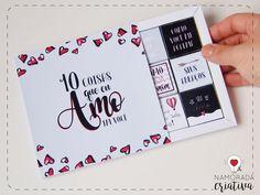 """No post de hoje vocês vão aprender a fazer um cartão recheado de chocolates e mensagens de amor. É uma versão bem fofa do tradicional """"10 coisas que eu amo em você"""" para você mimar o seu amor em qualquer data especial. O Projeto foi pensado para encaixar certinho aqueles mini tabletes de chocolate da Cacau Show, que além de deliciosos são baratinhos! Eles são vendidos em diversos sabores, é só você escolher os seus favoritos! Materiais: -Molde impresso, recortado (linhas retas), vi..."""