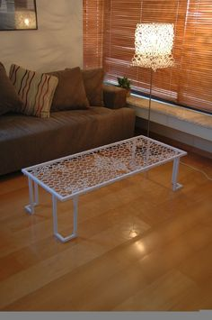 zip tie table. The ingenious way the zip ties are connected is creating designs and curves.