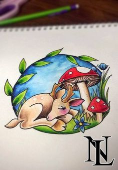 #deer #cute #sweet #sleep #doe #mushroom #flower #scape #adorable #sweet #original #grass #wildlife #tattoo #tattoos #ink #inked #tatted #oldschool #newschool #traditional #art #illustration #leicester #leciestershire #nottingham #uptowntattoos #uptwntattoostudio #artists #pretty #simple #detail #cartoon www.facebook.com/naomilistertattoos