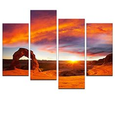 Large Size Landscape Canvas Wall ArtArches National ParkDelicate Arch in SunsetHome Decor Landscape Canvas Prints with Frame ** You can find out more details at the link of the image.