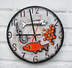 The Fish Wall Clock Home Decor Kitchen by ArtClock on Etsy