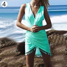 Sexy Women V-neck Summer Casual Sleeveless Tassel Dress Short Party Beach Dress 09WG