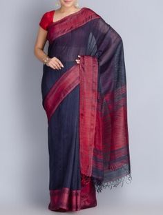 Blue-Red Matka Silk Handwoven Jamdani Saree
