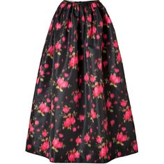 MICHAEL KORS Taffeta Ikat Floor-Length Skirt in Rose/Leaf/Black ($2,105)