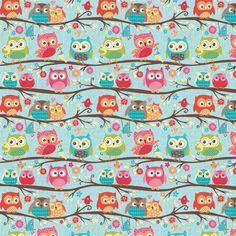 Happy Flappers Owls on Branches Blue