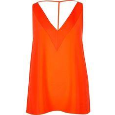 River Island Orange strap back cami (1.285 RUB) via Polyvore featuring orange, tops, orange cami, v-neck camisoles, strappy v neck cami, strappy cami и v neck cami