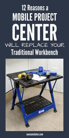 Looking for workbench ideas? Unsure if you should buy or DIY a workbench using plans. Before you decide on a traditional workbench check out the Kreg Mobile Project Center. It's a collapsible, folding, mobile workbench that can be used as an assembly table, for clamping, as a sawhorse and more! #workbench #smallworkshopideas