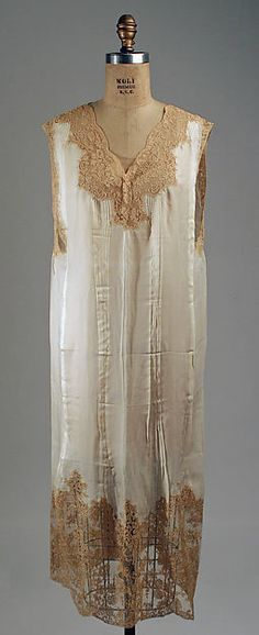 Nightgown (image 1) | French | 1927 | silk, cotton | Metropolitan Museum of Art | Accession Number: 1977.63.2a, b