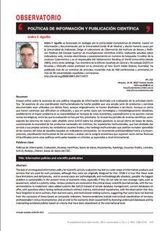 Políticas de información y publicación científica / Isidro Aguillo + El Profesional de la Información | #sciencecommunication #socialibrarianship