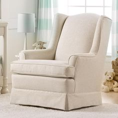 The Sutton Swivel Glider by Best Brands makes the perfect place to sit back and bond with baby. The neutral Linen upholstery and welcoming design provide versatility, blending seamlessly into any room's decor. The chair features a gentle gliding motion sure to calm baby and parent alike! The Sutton Swivel Glider can also swivel and rotate side to side. Thick cushioning in the seat and seatback and padded arms offer the utmost in comfort.<br><br>The Best Chairs Sutton Swivel Glider - Linen…