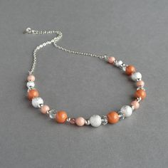 Coral and Silver Necklace  Orange Bridesmaids by annakingjewellery, £21.00