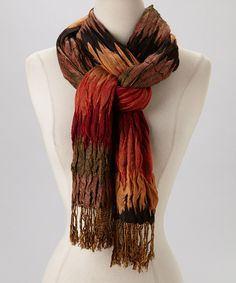 Take a look at this Red & Rust Zigzag Scarf on zulily today!