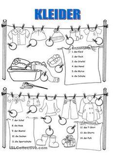 Kleider nennenDanke Gabriela Sandru für deine Erlaubnis für deine schönen Zeichnungen - DaF Arbeitsblätter