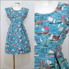 VINTAGE 1950 s KITSCH BLUE PINK NOVELTY BOAT PRINT SWING DRESS 12 40 ROCKABILLY   £100.60 (15B)