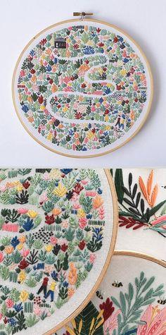 'Floral Field' PDF embroidery pattern by Lauren Merrick