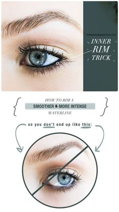 """Inner Rim Trick - Use a Q-Tip to """"dry"""" the rim BEFORE applying your kohl eyeliner  #makeup #waterline"""