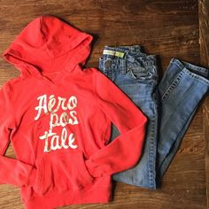 "⚡️ONE HOUR FLASH SALE Aero skinny jeans, hoodie Aeropostale medium wash skinny jeans and orange hoodie bundle. Jeans are size 3/4 LONG with stitching details on the back pockets. Inseam measures 30"" and waist measures 14.25 across the back when laid flat. Orange hoodie is size small with silver glitter font and front kangaroo pocket. Aeropostale Jeans Skinny"