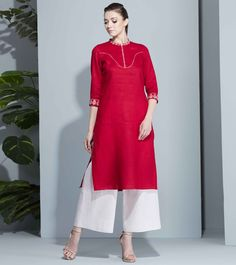 Am Pm Red Linen Embroidered Kurti
